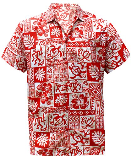 7af4b6b2 La Leela Aloha Hawaiian Tropical Beach Solid Plain Mens Casual Short  Sleeves Button Down Tropical Shirts L Red - Buy Online in Oman.