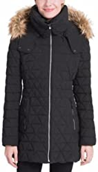 Marc New York Triangle Quilt Coat with Faux Fur Trim Hood (Black, Medium)