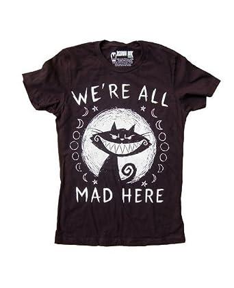 8e35344aabc946 Akumu Ink - Damen T-Shirt - Alice im Wunderland We´re all Mad Here (Schwarz)  (S-XL)