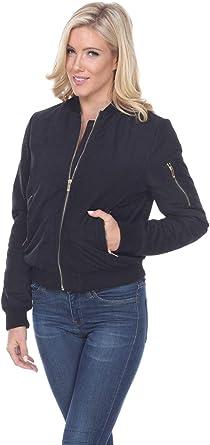 White Mark Womens Classic Bomber Jacket Short Quilted Zipper Coat