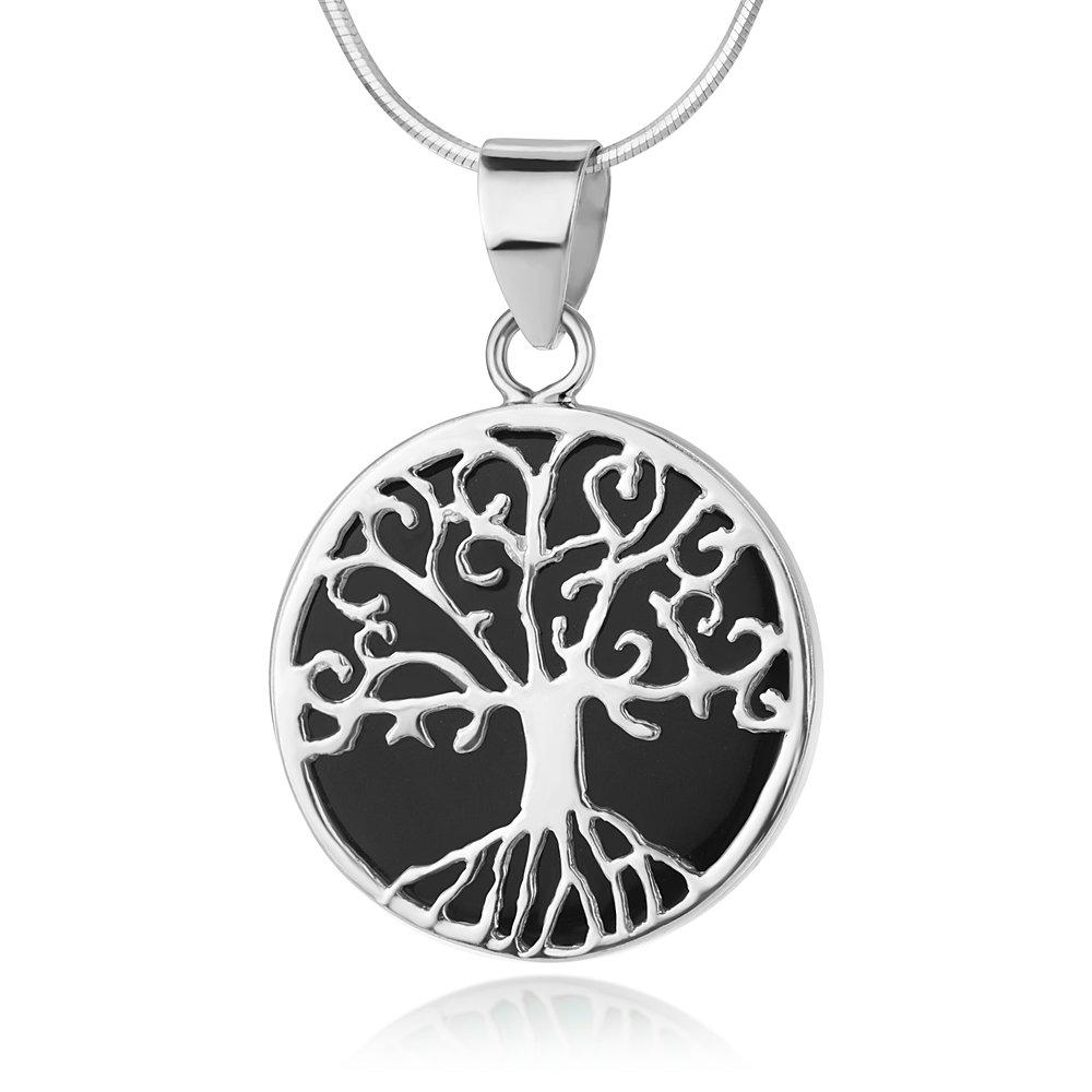 Sterling Silver Filigree Tree Of Life Symbol Round Black Enamel