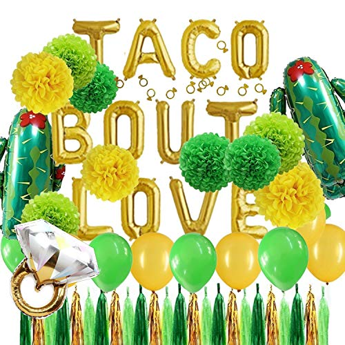 Green and Gold Taco Bout Love Foil Cactus Balloons Tissue Pom Poms Flowers Tassel Garlands Set Fiesta Party Theme Bridal Shower Wedding Announcement Ideas Mexican Fiesta Theme Supplies