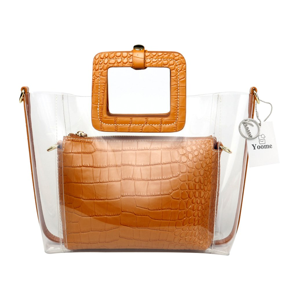 Yoome Women Clear Top Handle Bags PVC Waterproof Transparent Shoulder Bag with Cosmetic Bag Cowhide Handbags - Brown