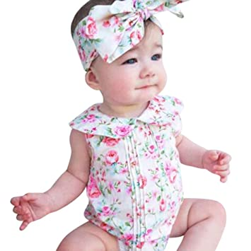 dcaa43933 Amazon.com  FEITONG Newborn Infant Baby Girl Floral Romper Bodysuit ...