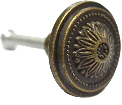 """Set of 2 Vtg Brass Round Knobs Drawer Pulls Hardware Antique 1"""""""