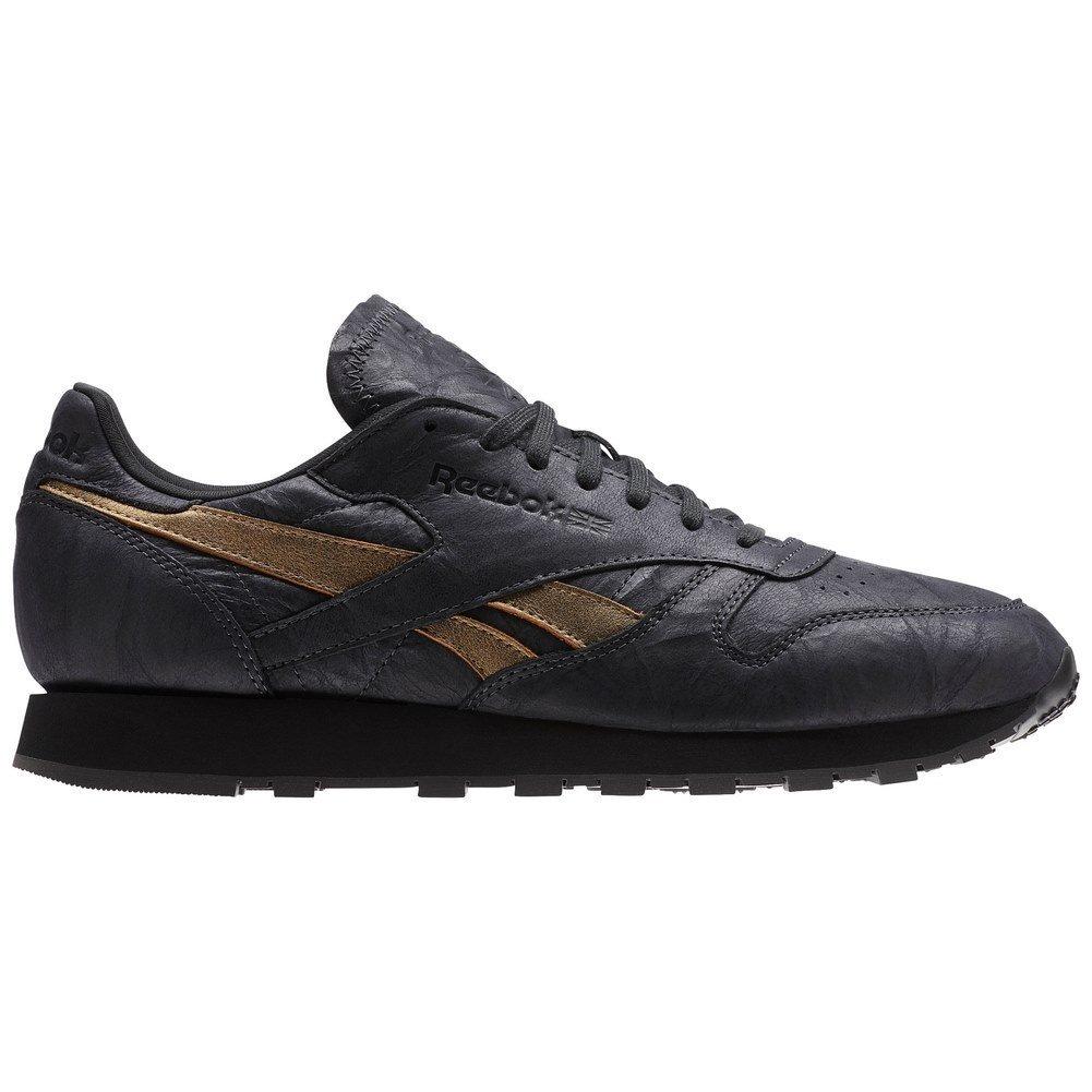 Reebok Schuhe ndash; CL Leather Tu Kohlenstoff/Golden/Schwarz  40.5 EU