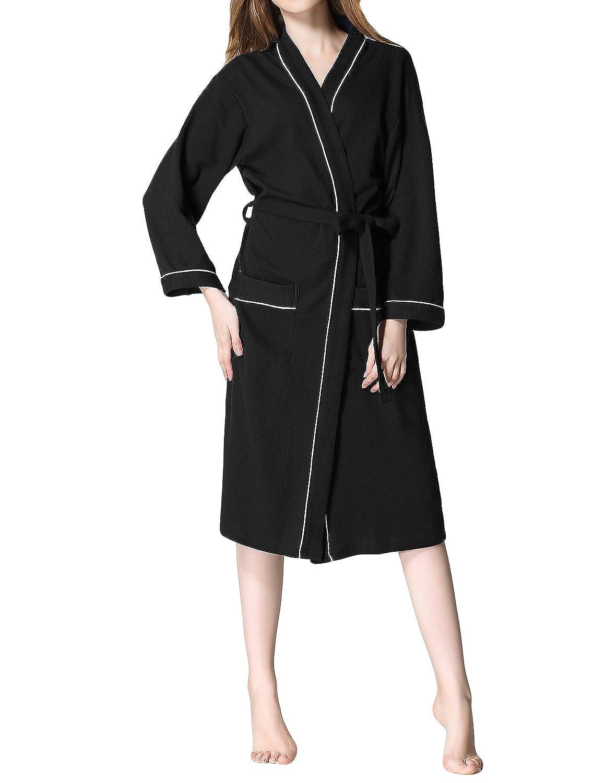 LAPAYA Women s Kimono Robe Waffle Weave Knee Length Contrast Piping Spa  Bathrobe at Amazon Women s Clothing store  c44d04356