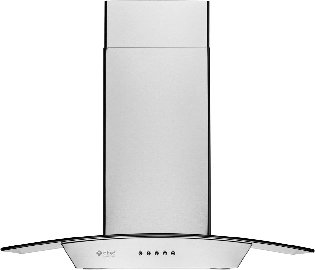 """Hauslane   Chef Series Range Hood WM-630 36"""" Wall Mount Range Hood   European Style with Stainless Steel and Tempered Glass   3 Speed, 750 CFM, LED Lamps   Ducted or Ventless"""