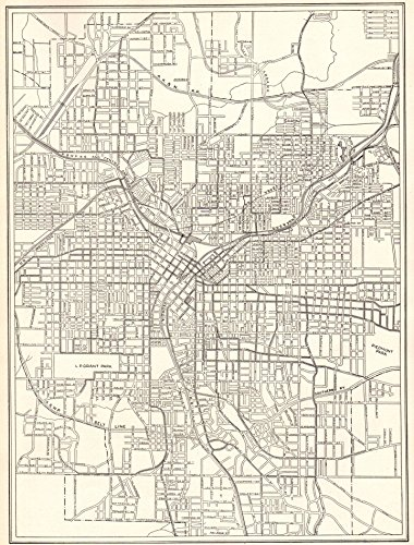 1911 Antique Atlanta Georgia Map Original Vintage Map of Atlanta Not a Reprint Home Office Decor Black and White Gallery Wall Art #1205
