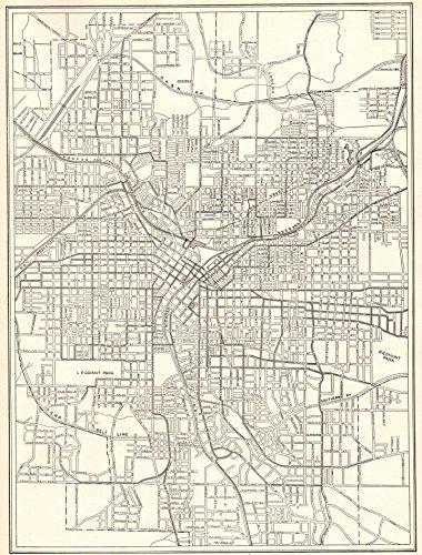 Original Antique Wall Map - 1911 Antique Atlanta Georgia Map Original Vintage Map of Atlanta Not a Reprint Home Office Decor Black and White Gallery Wall Art #1205