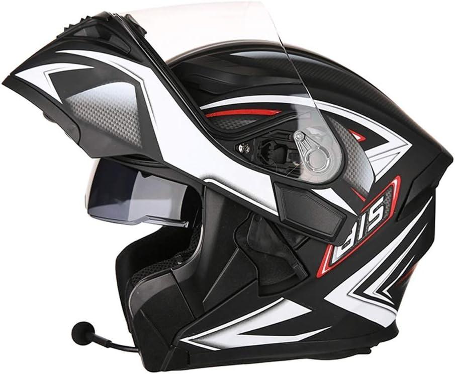 ヘルメットマウントオートバイ屋外乗馬の青toothヘッドセット、高精細防曇ミラー、フルフェイスヘルメットで男性と女性のクールな個性を公開 (Color : 黒4, Size : L)
