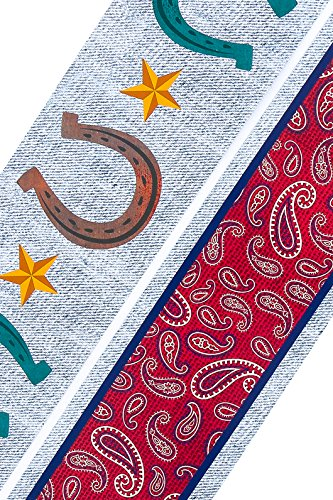 Renewing Minds Goin' West Wide Double Sided Border Trim, Horseshoes on Denim with Burgundy Paisley, Pack of Twelve 38 inch Strips Mardel