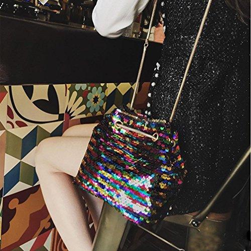 eimer tasche Frauen Mädchen Mode Umhängetasche weibliche Bling Pailletten Beuteltasche Multicolor