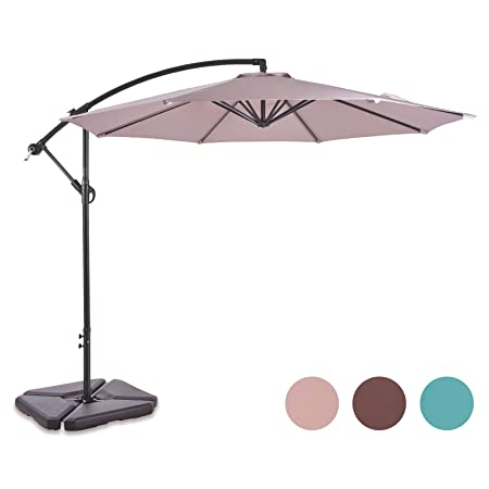 ALLURVEN 10 Feet Aluminum Offset Patio Umbrella,8 Steel Ribs,100 Polyester Canopy Beige