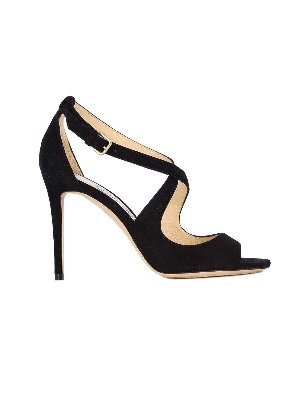 - Jimmy Choo Women's EMILY100SUEBLACKBLACK Black Leather Heels