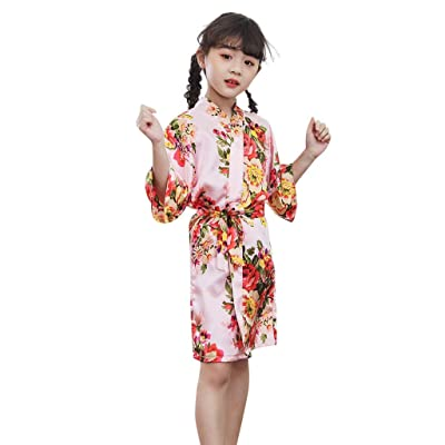 Toddler Baby Kid Floral Silk Satin Kimono Robes Bathrobe Sleepwear Clothes for Girls Boys: Clothing
