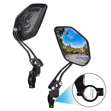Dewel 2 Pces Espejo Retrovisor Bicicleta Ajustable 360° Rotación Espejo Vista Posterior,Roller/Espejo