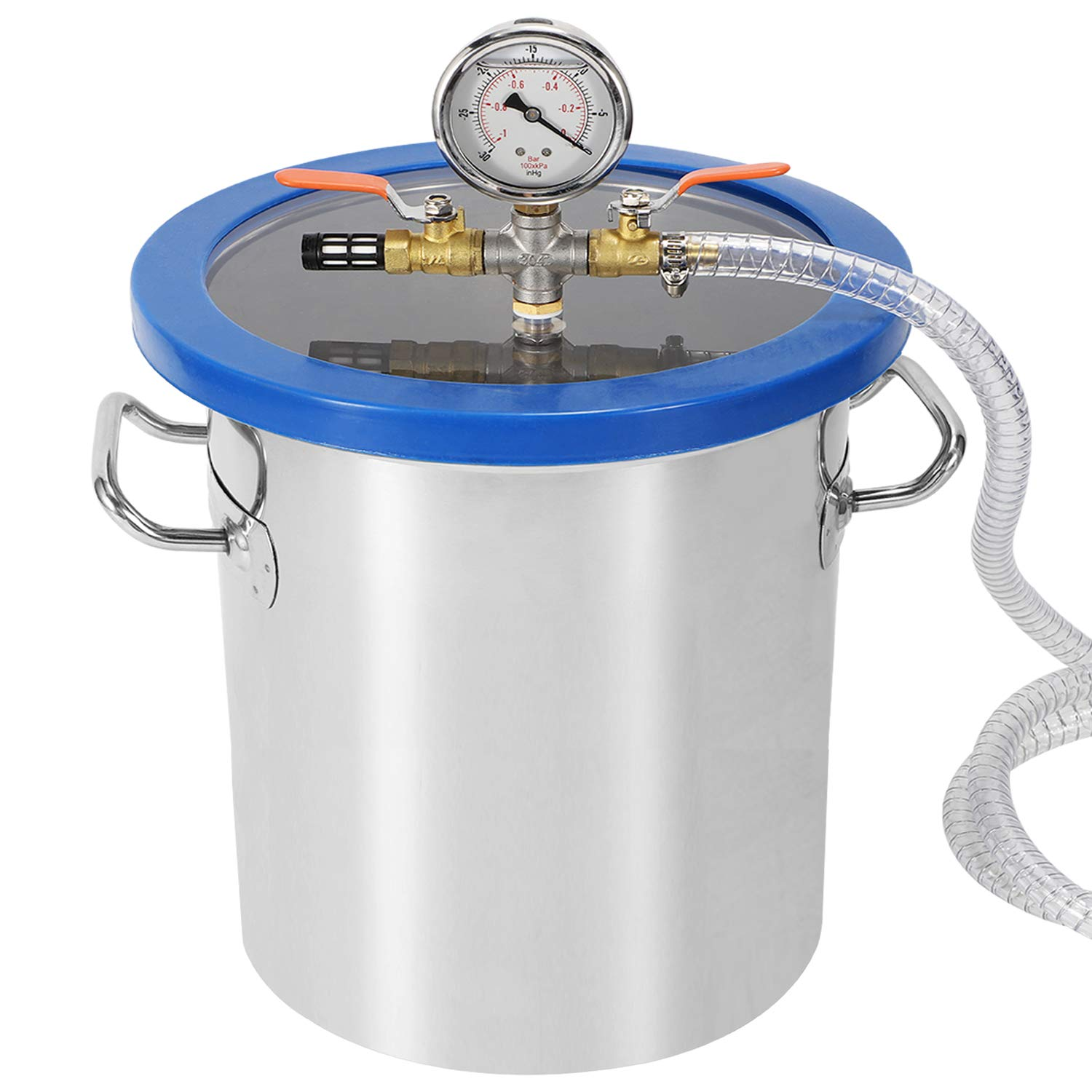 Poafamx Vacuum Chamber Degassing Kit Stainless Steel 5 Gallon with Acrylic Lid for Dehydrated Resin Defoaming AB Gum Candle Oil Polyurethane Silicones (5 Gallon, Blue)