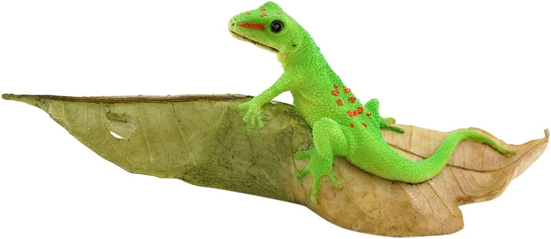 Top Collection Miniature Fairy Garden and Terrarium Day Gecko on Leaf Statue