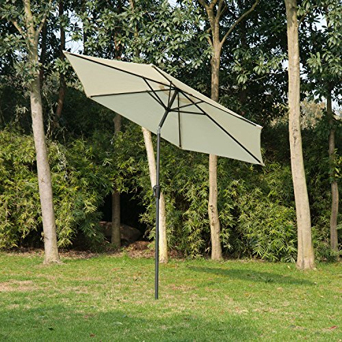 Outsunny Outdoor Aluminum Patio Market Umbrella with Tilt, 9-Feet, Cream (Outdoor Sale Patio Furniture Target)