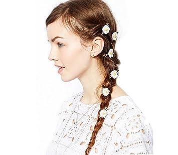 Amazon set of 6 boutique pastoral white little daisy flower set of 6 boutique pastoral white little daisy flower hair rope hair band hair clips mightylinksfo