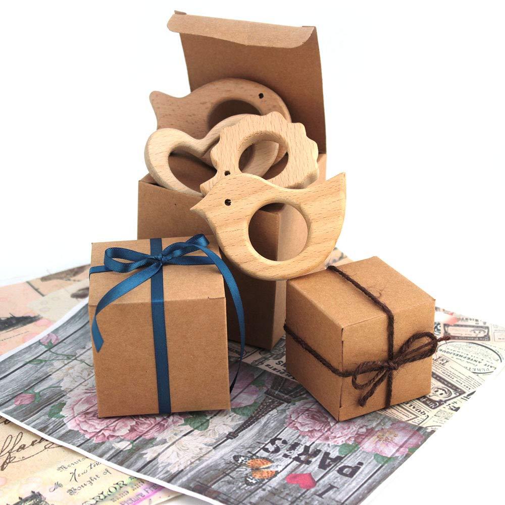 RUBY-50 Caja kraft de boda regalo R/ústico Cajas Papel Kraft 5cm*5cm para Guardar Bombones