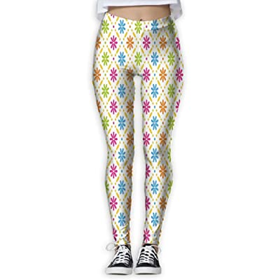 e865eedeee226 XINSHOU Women's Colorful Flowers And Dots Geometric Square Tile Pattern On  White Leggings