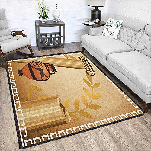 Toga Party Fashionable and Affordable Rugs,Antique Greek Columns Vase Olive Branch Hellenic Heritage Icons Textured Geometric Design Pale Brown Cinnamon White 79
