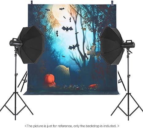 Andoer 1.5 * 2m Telón de Fondo de Fotografía Impresión Digital Halloween Calabaza Cementerio Patrón de la Impresión para Foto Estudio: Amazon.es: Electrónica