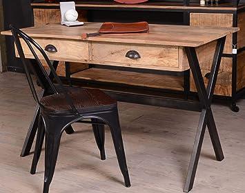 Bureau métal noir et manguier atelier meuble house amazon