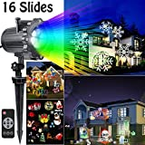 Hottly Led Christmas Light Projector - 2017 Newest Version Bright Led Landscape Spotlight with 16 Slides Dynamic Lighting Landscape Led Projector Light Show for Halloween, Party, Holiday Decoration
