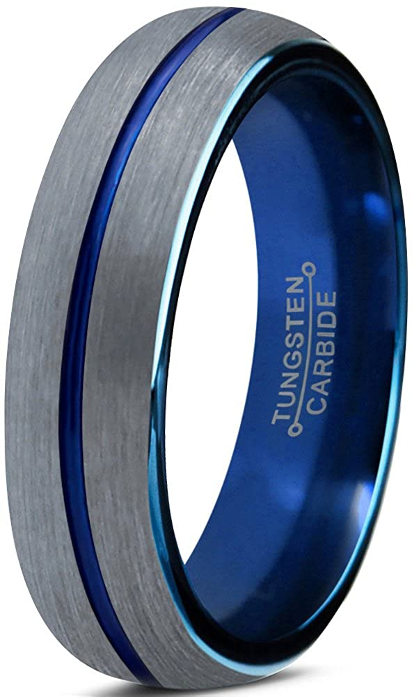 Tungsten Wedding Band Ring 4mm for Men Women Blue Silver Domed Brushed