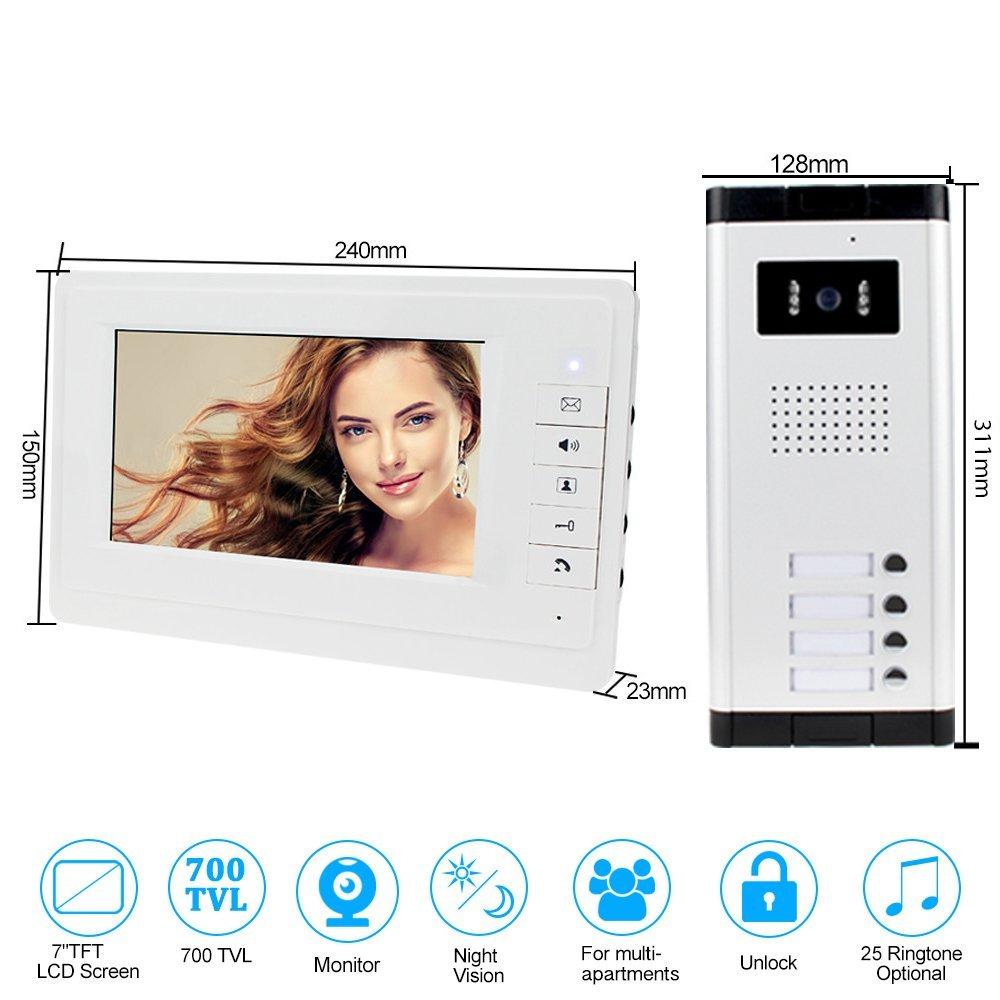 1 c/ámara HFeng 7  Intercom videoportero Sistema de sistema 700TVL Visi/ón nocturna C/ámara exterior Timbre para 3 apartamentos 3 monitores