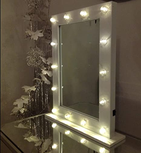 Hollywood White Led Bulb Vanity Make Up Table Mirror Amazon Co Uk Kitchen Home