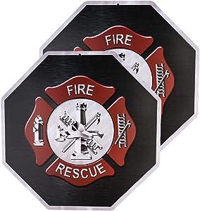 dojune-2 Pack Firefighter Wall Décor Signs,Fireman themed Parking Sign and Man Cave Décor Metal Bar Wall Art Décor