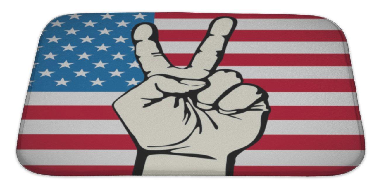 Gear New America Victory Finger T-Shirt Graphics S Bath Rug Mat No Slip Microfiber Memory Foam