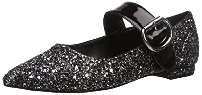 Marc Fisher Women's Aalia Mary Jane Flat, Black/Silver, 6 Medium US