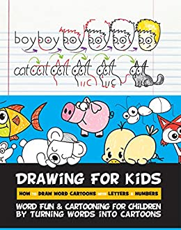 drawing for kids how to draw word cartoons with letters numbers word fun