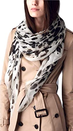 76d280fbf5b91 Image Unavailable. Image not available for. Color  Burberry Animal Print  Silk Scarf ...
