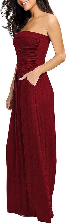 carinacoco Donna Vestiti Floreale Casuale Abito Senza Spalline Lungo Abiti Vestito da Matrimonio Banchetto Sera