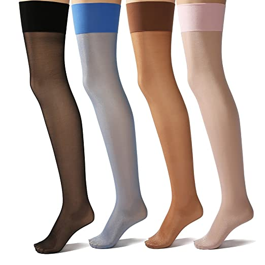 760b9130f3a Sheer Thigh High Stockings (4 Pairs) - Silk Reflections Over Knee Hosiery 4  Color