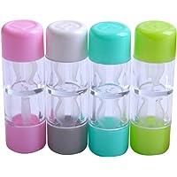 HEALIFTY 4PCS Mini Caja de lentes de contacto Caja de protección Caja de viaje Cosmética Portatarjetas de lentes de contacto (Rosa Blanco Azul y Verde)
