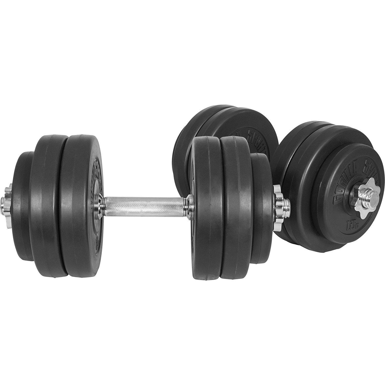 GORILLA SPORTS Kurzhanteln 2er Set Kunststoff 20kg Gewichte und Sternverschlüsse gerändelt 30//31mm 100075-00006-0025 30kg Hantelstangen