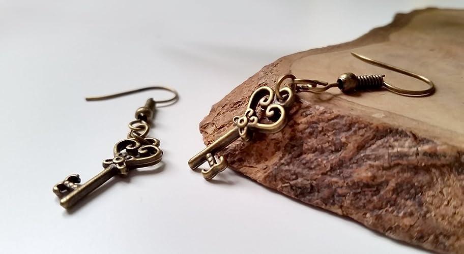 Amazon.com: Vintage Heart Steampunk Skeleton Key Earrings ...