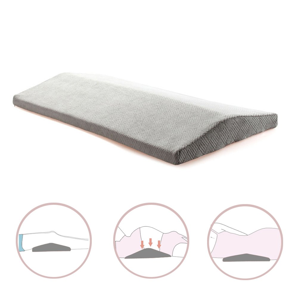 Qutool Memory Foam Sleeping Pillow for Lower Back Pain Orthopedic Lumbar Support Wedge Pillow for Sciatica Pregnancy Hip and Leg Pain Waist Pillow for Sleeping on Side or Back Grey