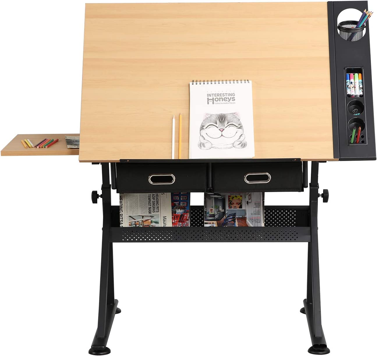 DlandHome Drafting Table Adjustable with a stool Craft Table Drawing Desk Hobby Table Writing Desk Studio Desk with Drawers Angle Adjustable Top