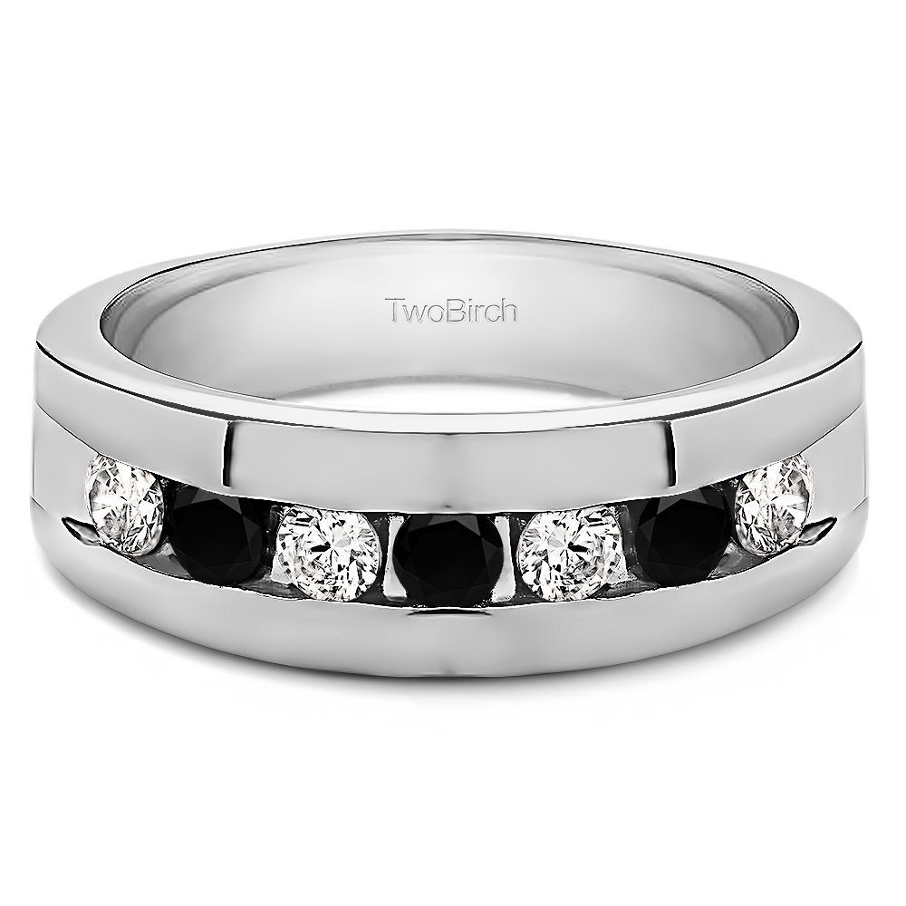 0.25Ct Size 3 To 15 in 1//4 Size Intervals 10k White Gold Cool Mens Ring Black And White Cubic Zirconia