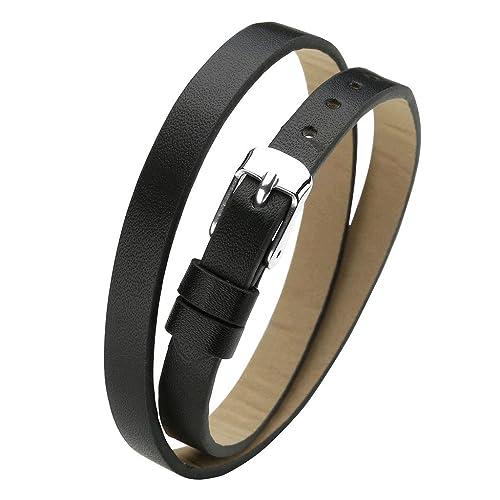 21ae68c9d2d9 JOVIVI Leder Schmuck,Damen Leder Armband Echtleder Wickelarmband  Lederarmband mit Dornschließe Verschluss,(schwarz