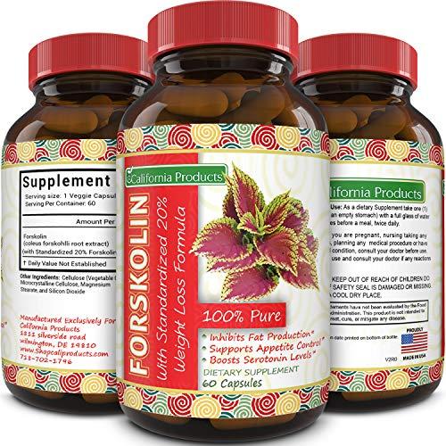 100% Pure Forskolin Extract 60 Capsules (Best Coleus Forskohlii on the Market) - Highest Grade Weight Loss Supplement for Women & Men - Standardized At 20%