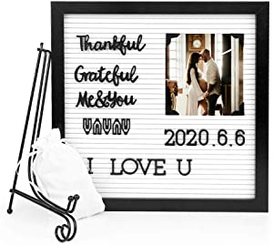 Farway Letter Boards 12x12 Inch + Metal Stand+358 Characters +Letter Bags - for Pregnancy Announcement,Baby Announcement, Monthly Memo Letter Board with Letters and Numbers